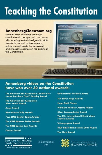 Teaching the Constitution brochure - Annenberg Classroom