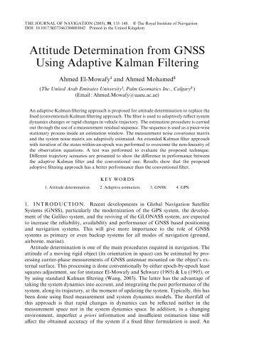 Attitude Determination from GNSS Using Adaptive Kalman Filtering