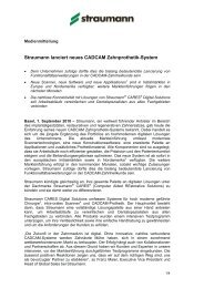 Straumann lanciert neues CADCAM Zahnprothetik-System