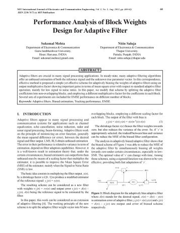 Performance Analysis of Block Weights Design for Adaptive Filter