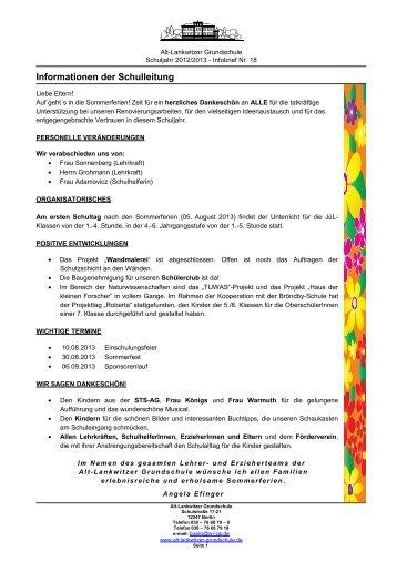 Infobrief Nr.18 - Alt-Lankwitzer Grundschule