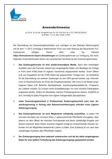 Anwenderhinweise - Bayerischer Formularserver - Bayern