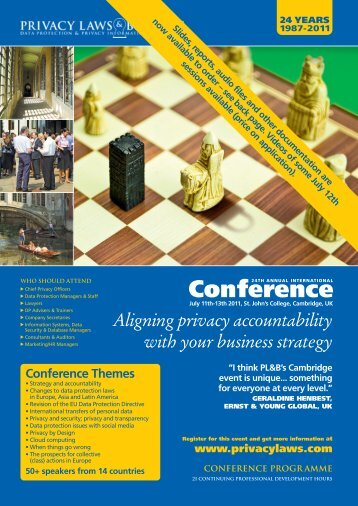 full programme - Privacy Laws & Business