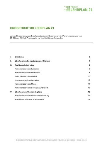 Grobstruktur - Lehrplan 21