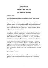 Opposition tactics - ITMA – Institute of Trade Mark Attorneys