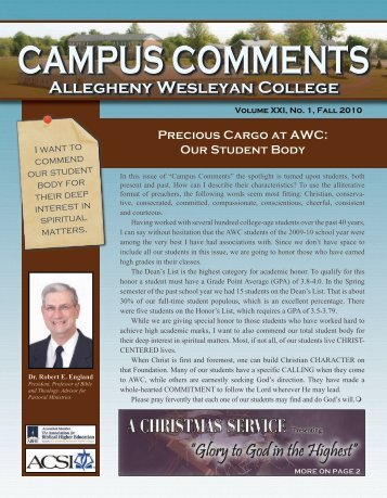 CAMPUS COMMENTS - Allegheny Wesleyan College