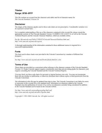 Tibetan Range: 0F00–0FFF Disclaimer Fonts Terms of Use