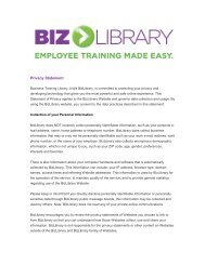 Privacy Statement - Business Training Library