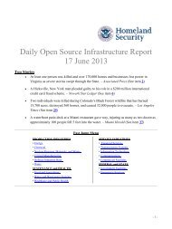 Department of Homeland Security Daily Open Source Infrastructure ...
