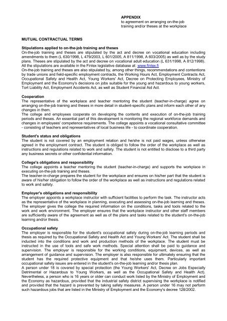 Appendix To Agreement On Arranging On The Job Training Andor