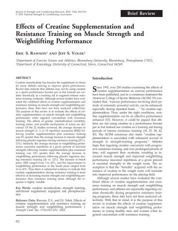 Effects of Creatine Supplementation and Resistance Training on ...