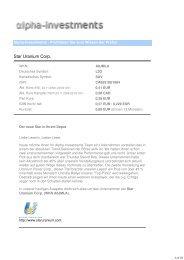 Star Uranium Corp. - GOLDINVEST.de