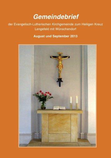 Gemeindebrief - Kirchgemeinde Lengefeld