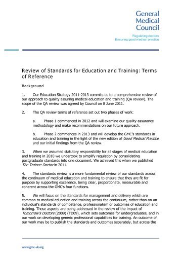 Standards for education and training ToR - General Medical Council