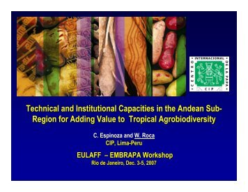 Technical and Institutional Capacities in the Andean ... - BioEuroLatina