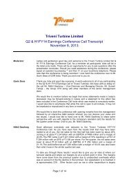 Transcript of Investors/ Analysts Conference Call - Triveni Engineering