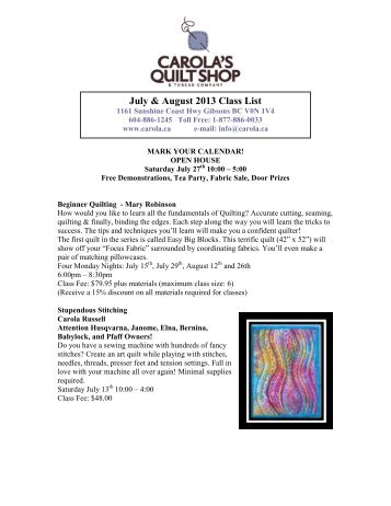 The following list includes the classes I teach at my local quilt ... : list of quilt shops - Adamdwight.com