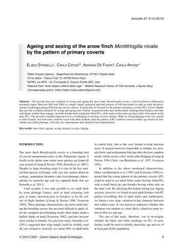 Ageing and sexing of the snow finch Montifringilla nivalis by the ...