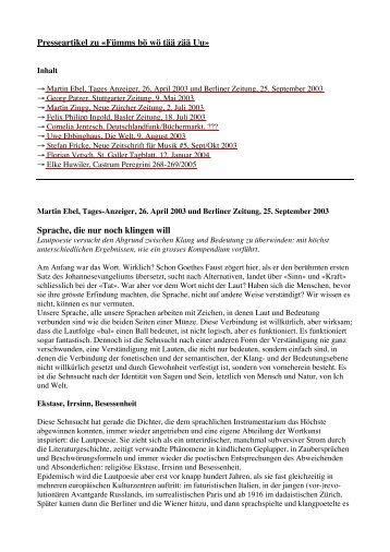Presseartikel zu - Urs Engeler Editor