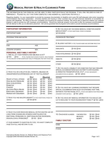 Health Evaluation Form For Medical Clearance  University Health