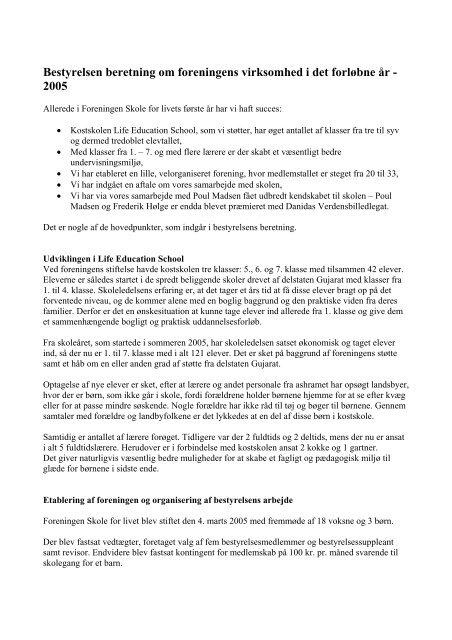 Bestyrelsens beretning for 2005 - Foreningen Skole for Livet