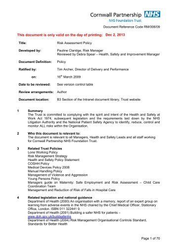 Risk Assessment Policy - the Royal Cornwall Hospitals Trust website...