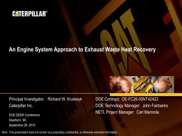 An Engine System Approach to Exhaust Waste Heat Recovery - EERE