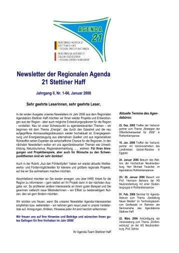 Newsletter der Regionalen Agenda 21 Stettiner Haff - Ikzm Oder