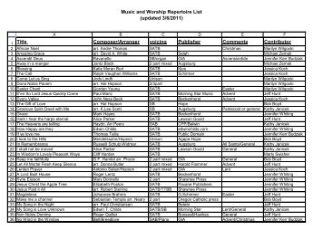 Music and Worship Repertoire List (updated 3/6/2011 ... - IL-ACDA