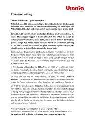 Pressemitteilung zur Veranstaltung in der Urania am 31. Mai 2008