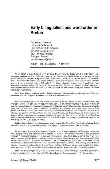 Early bilingualism and word order in Breton. IN: Kode bereizketa eta ...