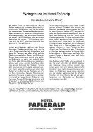 Weinkarte Fafleralp 2012 - Hotel Fafleralp