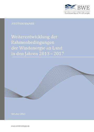 Weiterentwicklung der Rahmenbedingungen der Wind energie an ...