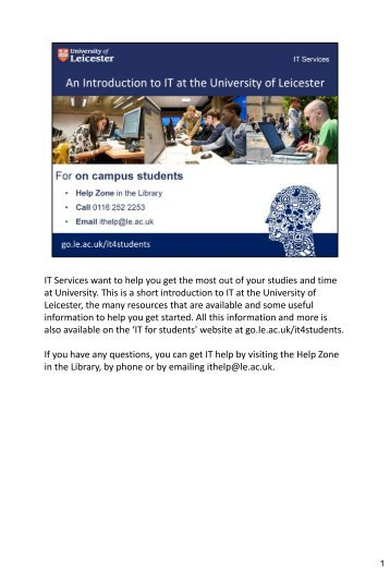 Introduction to IT On campus students PDF - University of Leicester