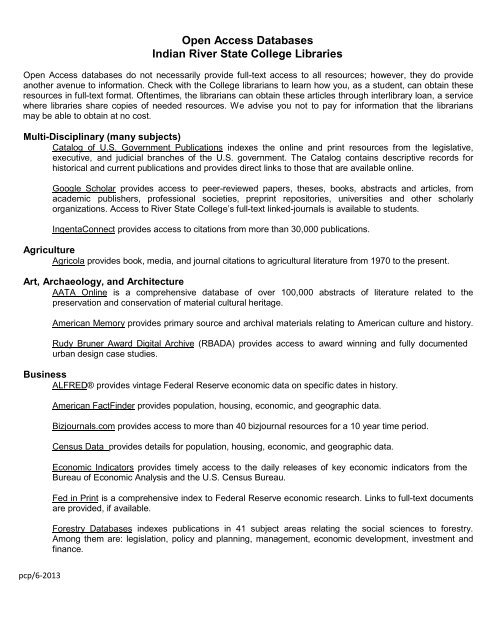 Open Access Databases Indian River State College Libraries