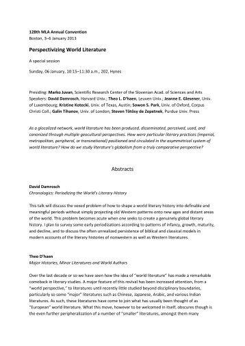 Perspectivizing World Literature Abstracts - ZRC SAZU