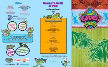 Gecko's Restaurant Dining Menu - Gecko's Grill and Pub