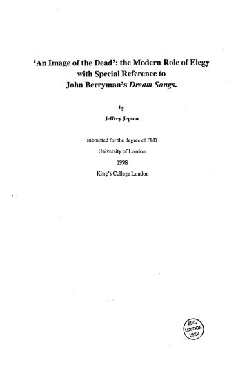 by submitted for the degree of PhD University of London 1998 King's ...