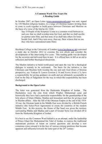 ACW five years on - Understanding Islam and Christian-Muslim ...