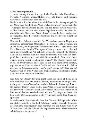 Eröffnungsstatement Walter Müller ... - St. Virgil Salzburg
