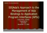 SIGAda's Approach to the Management of Ada Bindings to ...