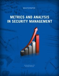 Metrics and Analysis in Security Management - Ohlhausen Research