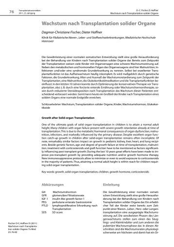 Wachstum nach Transplantation solider Organe - Transplantation.de