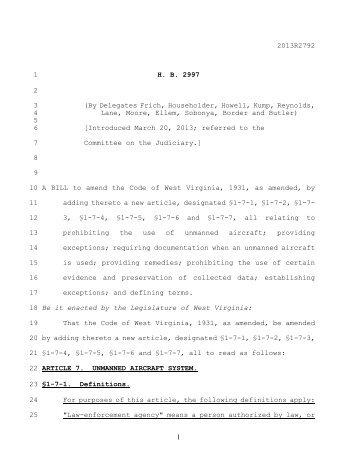 2013R2792 1 HB 2997 2 3 - West Virginia Legislature