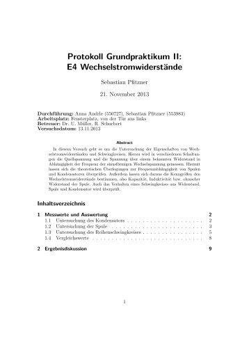 Protokoll Grundpraktikum II: E4 Wechselstromwiderstände