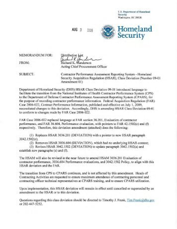 HSAR Deviation 09-01 Amendment 1 - Homeland Security