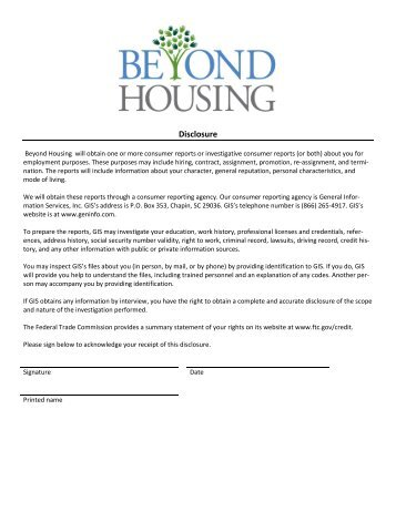 Background  Credit Check Disclosure And Authorization Form