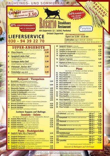 aktuelle Lieferkarte ansehen - Rosario - Restaurant mit Lieferservice