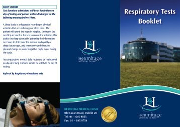Respiratory Tests Booklet - Hermitage Medical Clinic