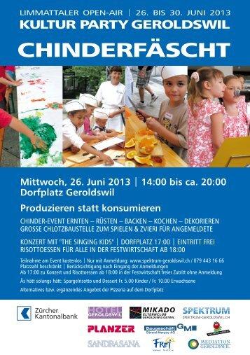 Flyer Chinderfäscht 2013 - Spektrum Geroldswil